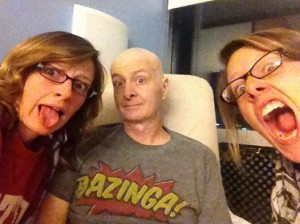 David with the Becca and Rachael in the hospital
